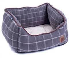 Grey Window Pane Check Square Bed (Large)