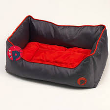 Oxford Square Bed Grey/Red (XLarge)