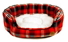 Red Tartan Check Oval Bed (Medium)