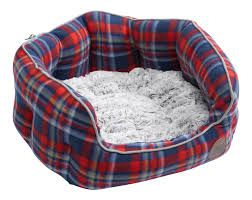 Blue Fleece Check Oval Bed (XLarge)