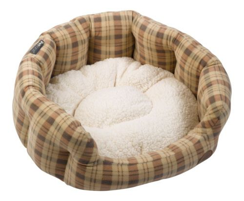 Brown Check Oval Bed (Large)