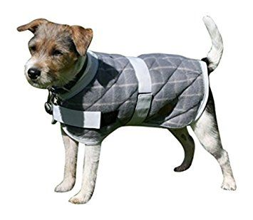 Grey Check Quilted Dog Coat